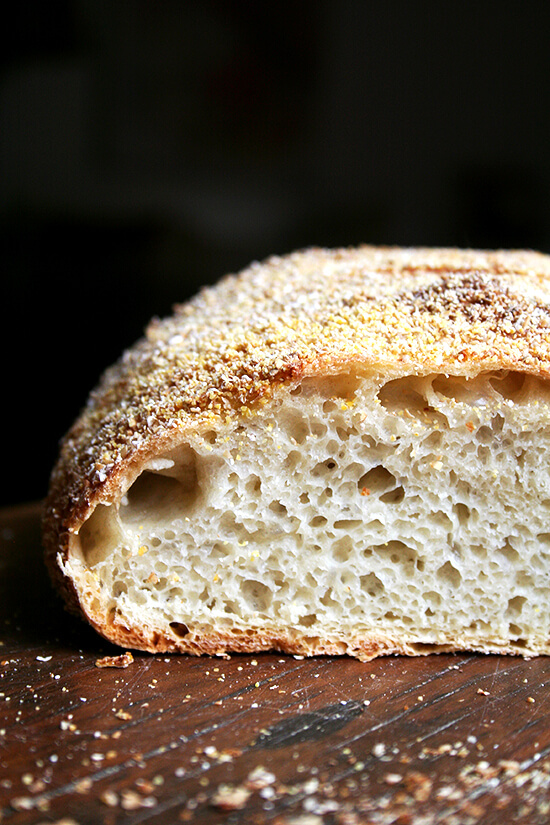 This no-knead bread recipe produces a rustic boule with a thin and crisp crust and a moist and airy interior. It is dramatic and beautiful and comfortably feeds ten people for dinner. It moreover makes delicious toast and sandwich bread and freezes beautifully. // alexandracooks.com