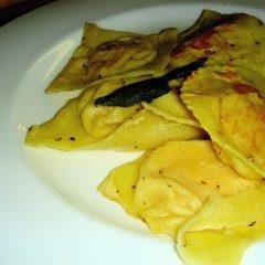 This classic recipe for homemade butternut squash ravioli with sage brown butter sauce isn't easy, but it is delicious. If you can overcome the frustrating preliminary shaping trials, I think you will find that your hard work will more than reward you with a few delicious and elegant dinners. // alexandracooks.com