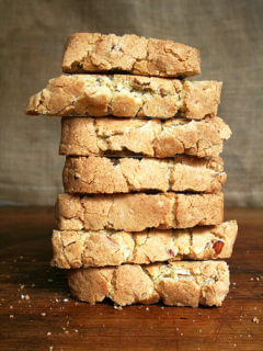 Vanilla-almond biscotti stacked.