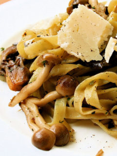 pasta with mushrooms, parmesan, and truffle oil