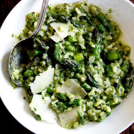 Super Asparagus-y Risotto with Farro (or Not)