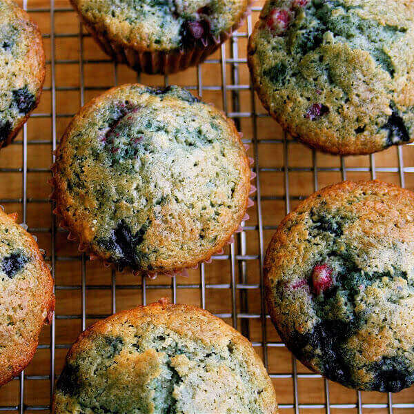 These berry muffins are moist, sweet, and a yummy yummy treat! I used all frozen berries and they came out beautifully. // alexandracooks.com