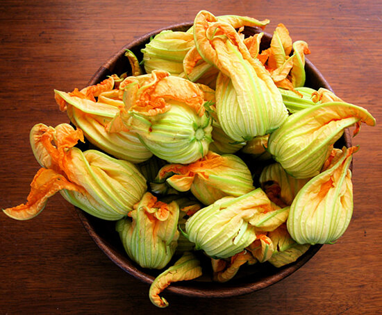 Ever since I learned how to stuff squash blossoms, batter them and fry them, I've looked forward to the summer growing season, which would bring these delicate flowers to market. Seeing squash blossoms was always a treat. // alexandracooks.com