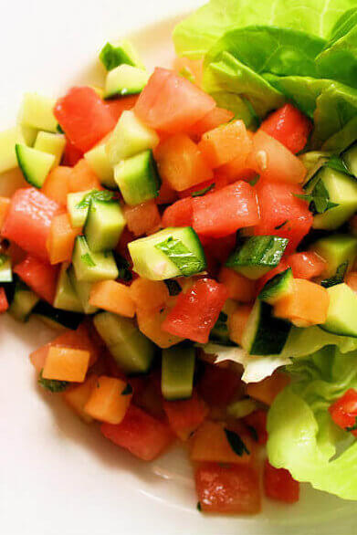 Melon & Cucumber Salad with Mint Vinaigrette