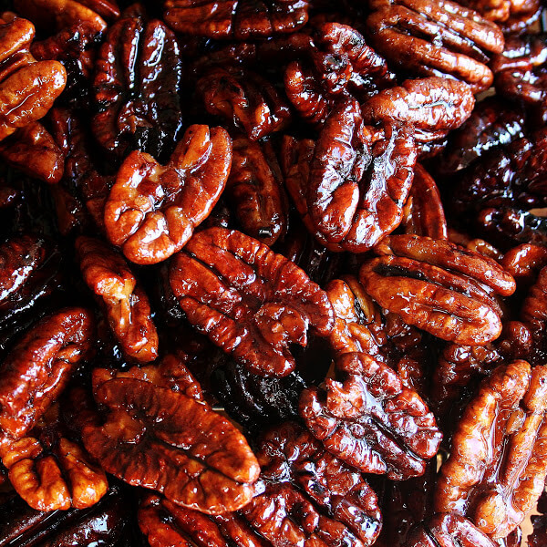 While not the simplest recipe to whip up — this recipe calls for blanching first, then deep-frying — these candied pecans are the crunchiest and most delicious I've ever tasted. // alexandracooks.com