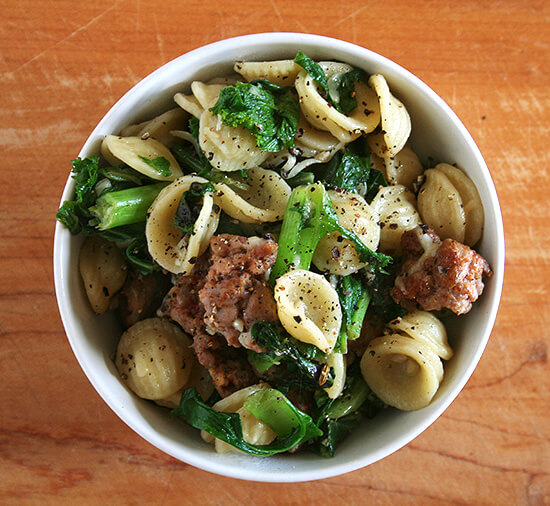 The whole combination of orecchiette with greens and sausage and grated Parmigiano is so classic and so wonderful. Nothing original here, just a nice, simple, tasty dish. Yum. // alexandracooks.com