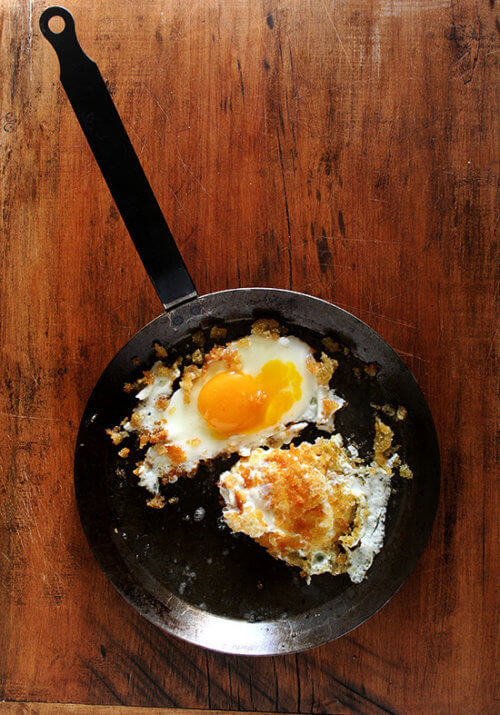 At Zuni, these eggs fried in breadcrumbs appear on the Sunday lunch menu accompanied by house-made sausage or bacon, but Zuni's chef-owner Judy Rodgers likes these crunchy eggs for dinner with a salad of bitter greens. I couldn't agree more. // alexandracooks.com