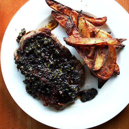 Grass-fed Steaks with Balsamic-Caper Sauce + Oven-Roasted Potatoes