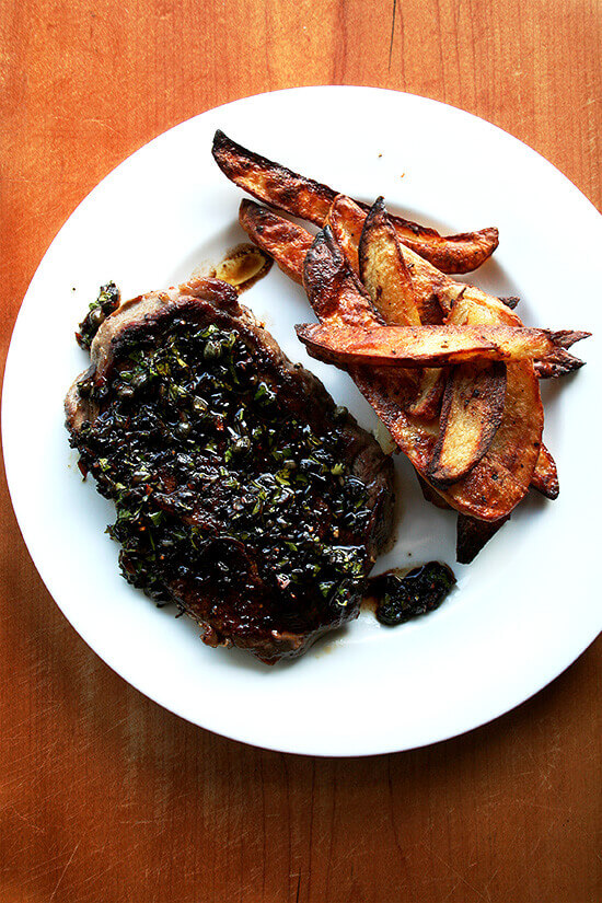 Grass-fed steak with balsamic caper sauce