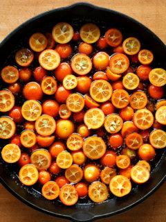Kumquats in a skillet.