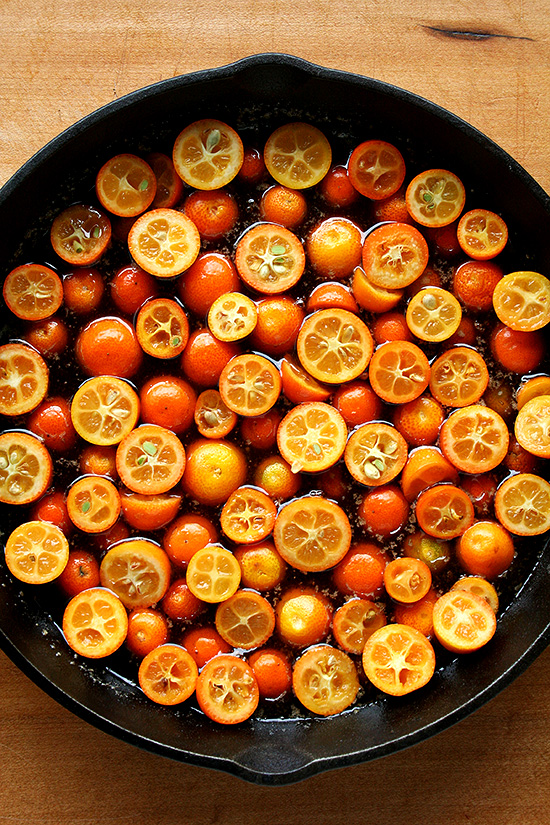 Kumquats in a skillet.