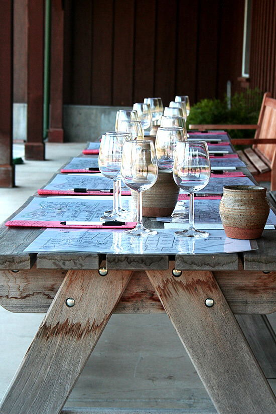 Tasting Table at Hendry's Vineyard