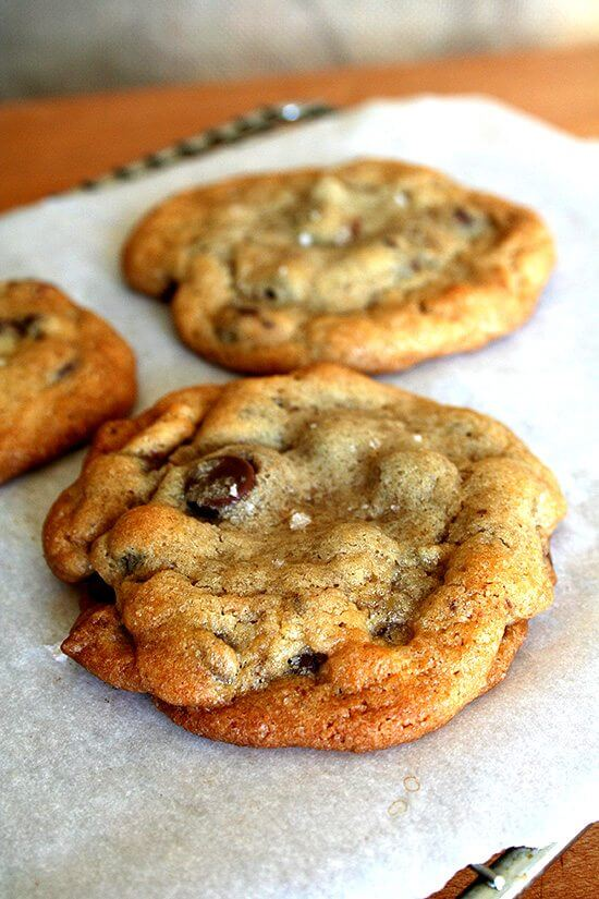 chewy chocolate chip cookie with a touch of salt on top
