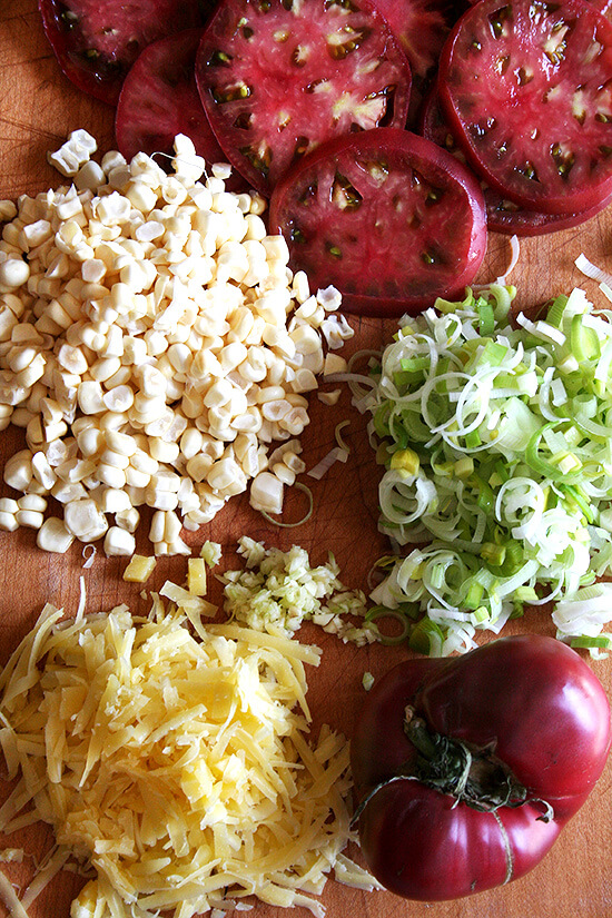 The ingredients for the savory galette: tomatoes, corn, leeks, gruyere.