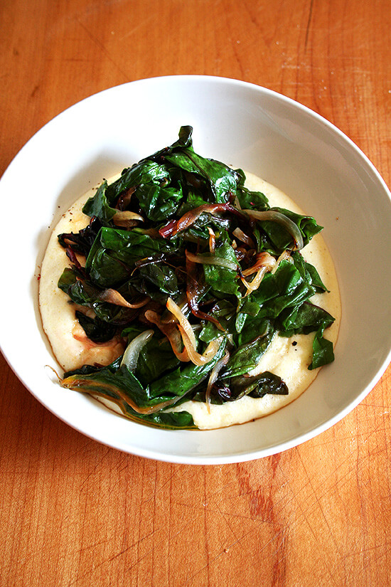 Swiss chard and onions over polenta