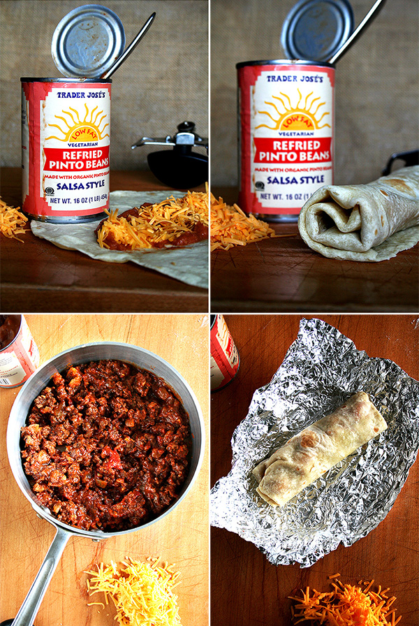 A montage of images showing refried pinto beans and the assembly of a bean and cheese burrito wrapped in foil.