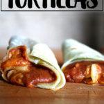 Homemade bean and cheese burrito on homemade flour tortillas.