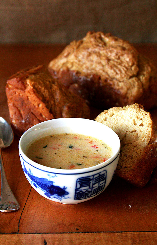 For a light but comforting meal, serve this Vermont cheddar cheese soup with bread (perhaps beer bread) and a wintery salad of arugula, candied pecans, diced pear and blue cheese. Yum yum. // alexandracooks.com
