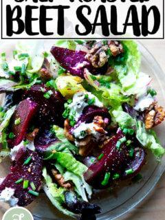 Salt-roasted beet salad on a plate.