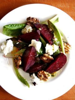 Salt Roasted Beet Salad with Walnuts and Goat Cheese