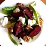 Salt roasted beet salad on a plate.