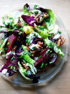 Beet salad on a plate.