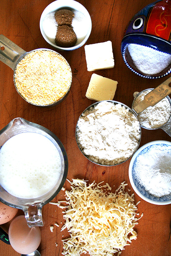 Overhead view of cornbread ingredients