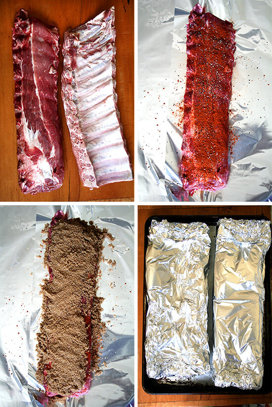Overhead views of preparing the ribs: uncooked, with spices, and wrapped in tinfoil