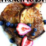 A plate of just-baked overnight French toast topped with berries.