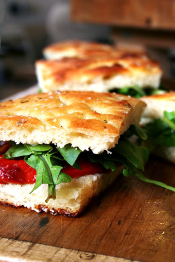 Homemade Focaccia + Roasted Red Pepper & Arugula Sandwiches