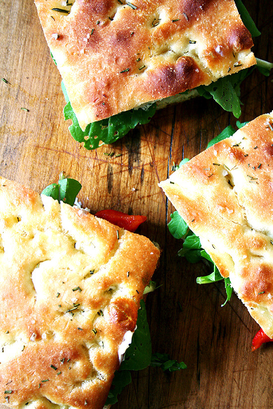 Next time you are invited to a potluck picnic, volunteer to make sandwiches. And then make these roasted red pepper and arugula sandwiches on homemade focaccia. You will be loved forever. I promise. // alexandracooks.com