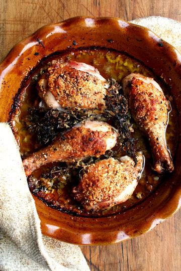 Chicken Legs with White Wine, Olive Oil & Parmigiano Reggiano