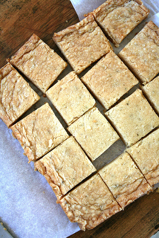 Just baked rosemary shortbread, cut into squares.