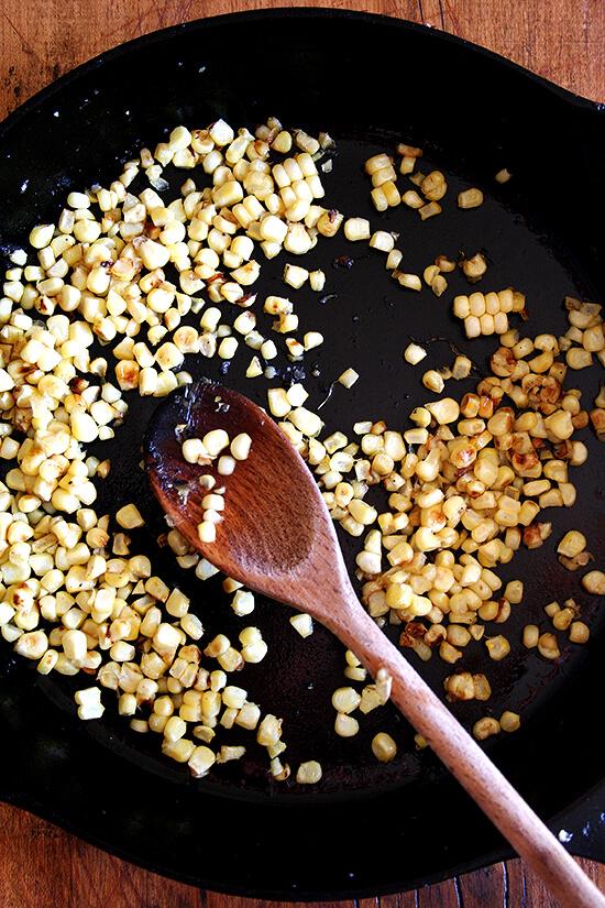 A simple way to spruce up a salad — add sauteed corn. // alexandracooks.com