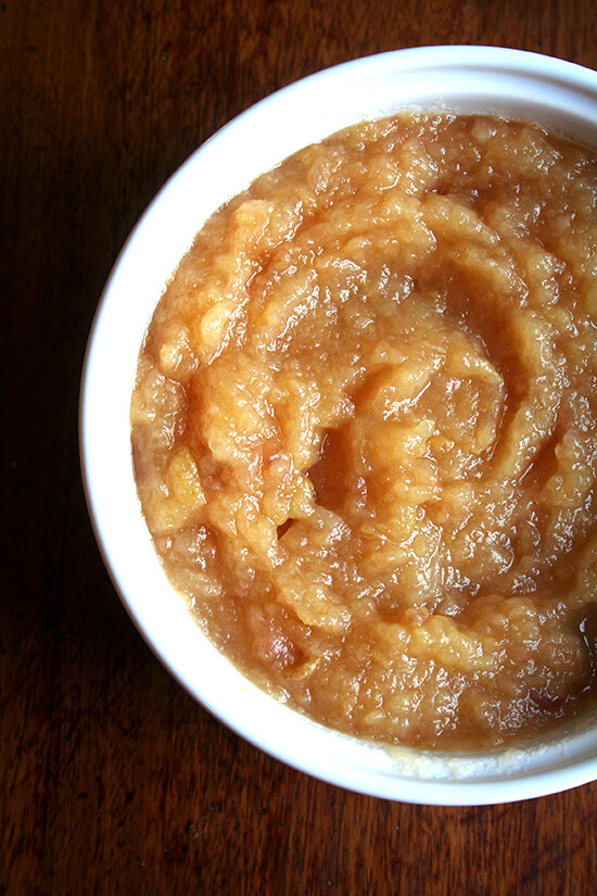 A bowl of homemade applesauce.
