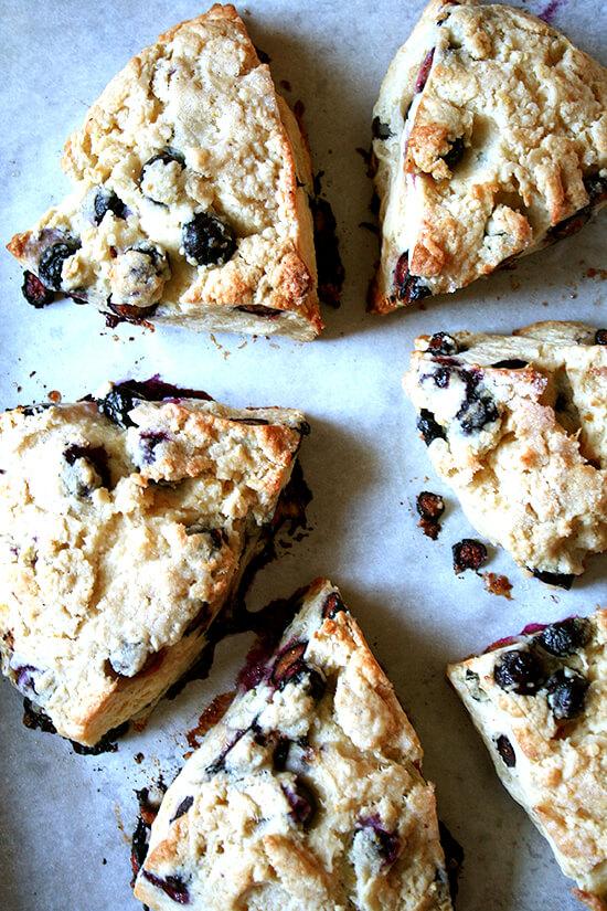 Buttermilk blueberry scones on a sheet pan.