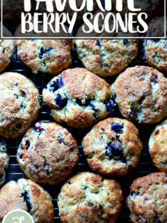 Just baked berry scones on a sheet pan.