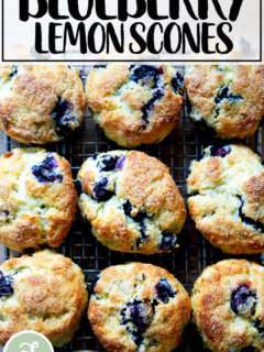 Just baked blueberry scones on a sheet pan.