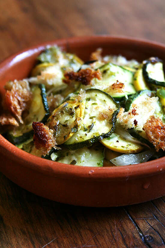This summer squash gratin is a most delicious, vegetarian entrée or side dish starring summer's most abundant vegetable. Seen on Amanda and Merril's Food 52 website, this recipe is delectable. // alexandracooks.com