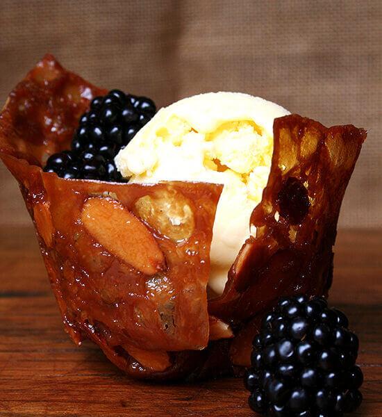 Crème Fraîche Ice Cream in Almond Butterscotch Cookie Cups