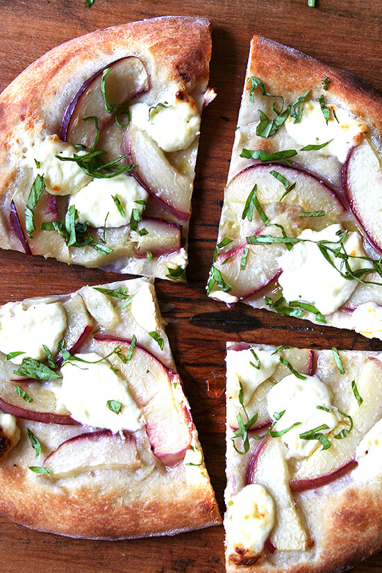 With the help of Marcella Hazan's homemade tomato sauce, classic pizza margherita can be achieved at home with delectable results. And thanks to the Barefoot Contessa, making homemade ricotta is easy and delicious. // alexandracooks.com