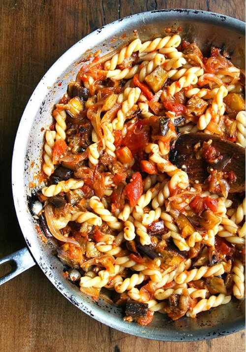 Roasted eggplant, caramelized onions, fresh tomato sauce and a hint of sherry vinegar combine to make this late-summer pasta dish truly fantastic. // alexandracooks.com