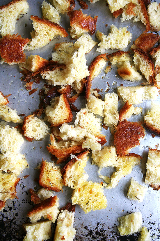 brioche croutons, unbaked