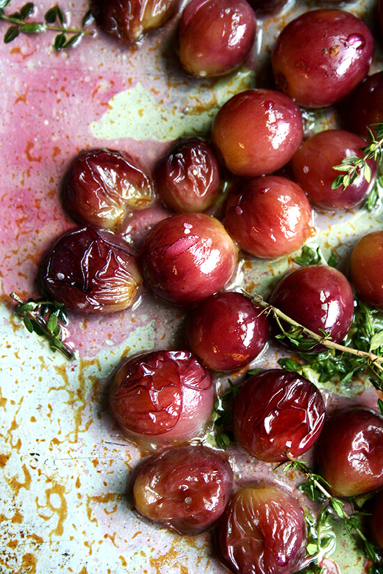Roasted Grapes with Thyme, Salt and Olive Oil