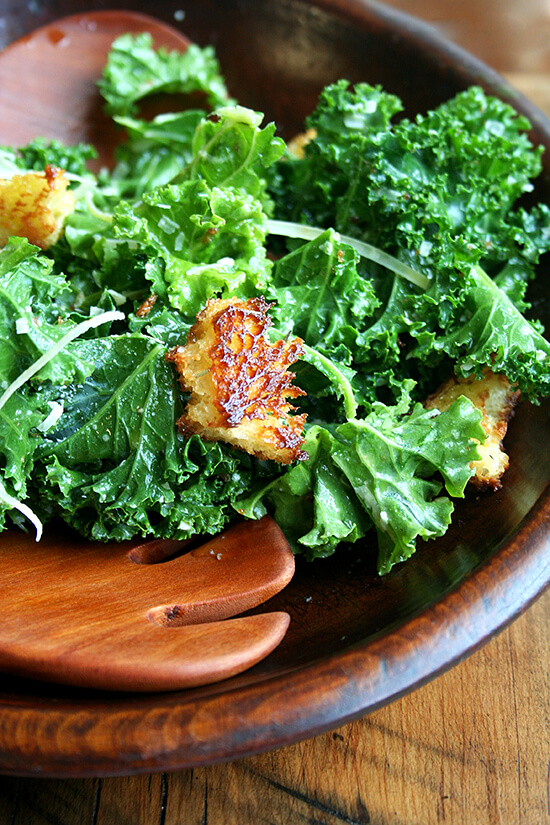 The dressing in this kale caesar salad, made without mayonnaise or cheese, is lemony and light and is a wonderful complement to kale, an unsuspecting substitute in a classic dish. // alexandracooks.com
