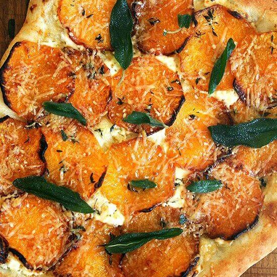 Pizza with Roasted Butternut Squash and Crispy Sage