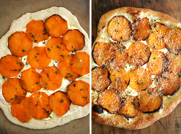 Two side by side images: butternut squash pizza, unbaked (left) and baked (right).