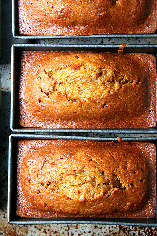 Three mini loaf pans filled with just-baked pumpkin bread.