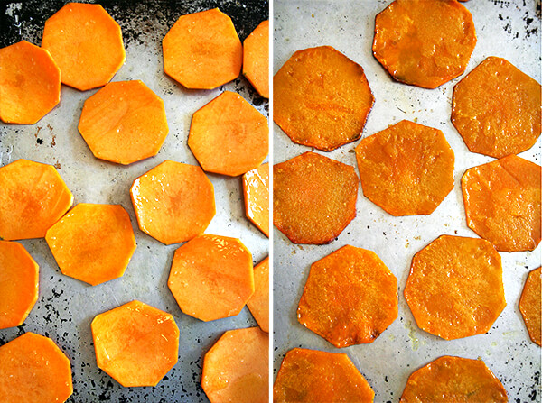 Two side by side images: slices of butternut squash on a sheet pan, unbaked (left) and baked (right).