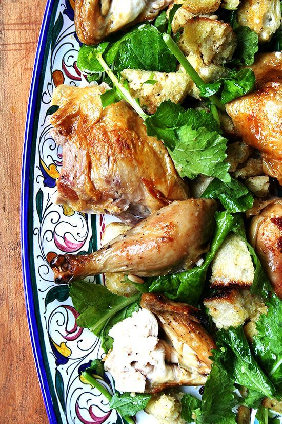 If you are under the impression that serving a whole roast chicken mid week is an impossibility, think again. A super moist, most delicious chicken can be achieved in 45 minutes. Nothing tastes better this time of year than whole roasted chicken — whole roasted chicken smothering bread salad that is! Give this recipe a whirl. You won't be disappointed. // alexandracooks.com